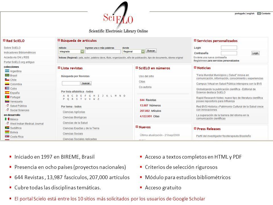 Iniciado en 1997 en BIREME, Brasil Presencia en ocho países (proyectos nacionales) 644 Revistas, 13,987 fascículos, 207,000 artículos Cubre todas las