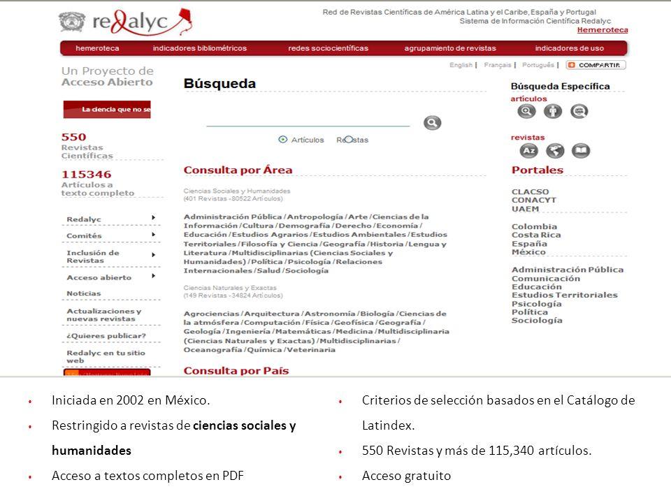 Iniciada en 2002 en México. Restringido a revistas de ciencias sociales y humanidades Acceso a textos completos en PDF Criterios de selección basados