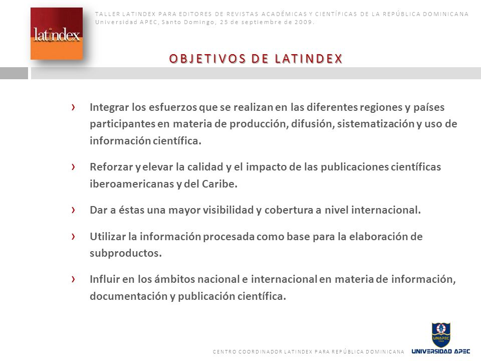 Desarrollar un sistema de información para ingresar y consultar datos de las publicaciones científicas seriadas de Iberoamérica y el Caribe.