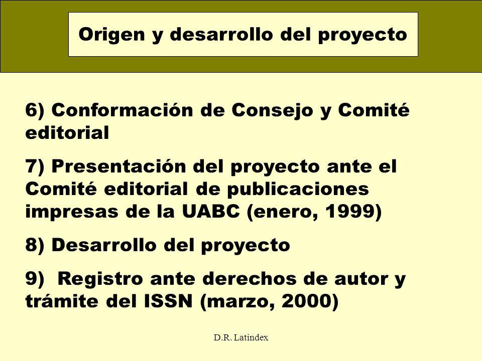 D.R. Latindex 6) Conformación de Consejo y Comité editorial 7) Presentación del proyecto ante el Comité editorial de publicaciones impresas de la UABC