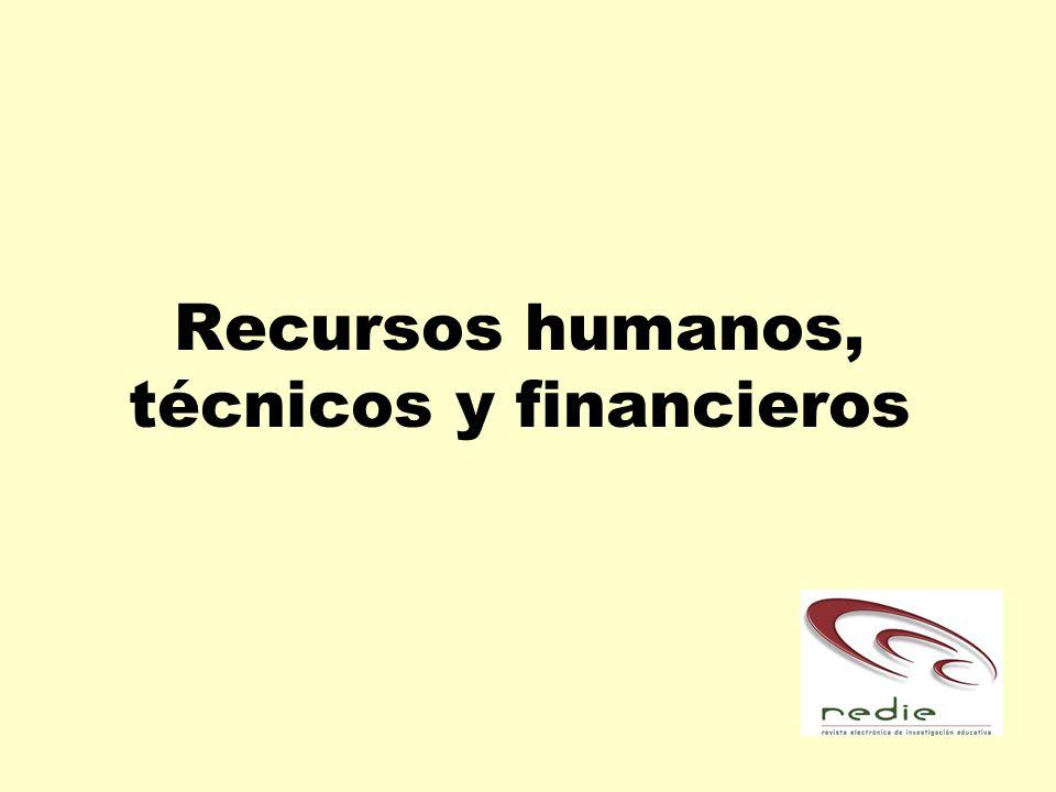 Recursos humanos, técnicos y financieros