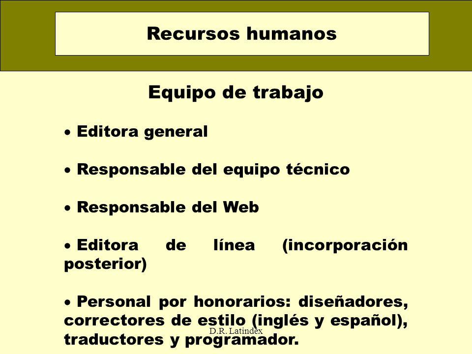 D.R. Latindex Equipo de trabajo Editora general Responsable del equipo técnico Responsable del Web Editora de línea (incorporación posterior) Personal