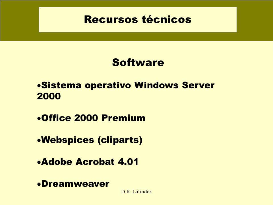 D.R. Latindex Software Sistema operativo Windows Server 2000 Office 2000 Premium Webspices (cliparts) Adobe Acrobat 4.01 Dreamweaver Recursos técnicos