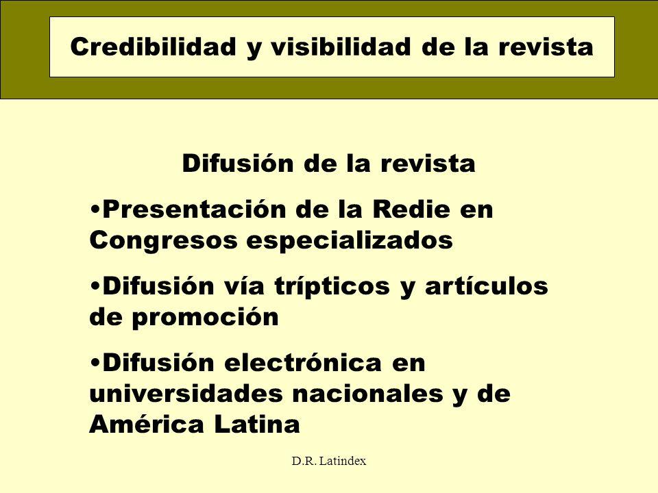 D.R. Latindex Difusión de la revista Presentación de la Redie en Congresos especializados Difusión vía trípticos y artículos de promoción Difusión ele