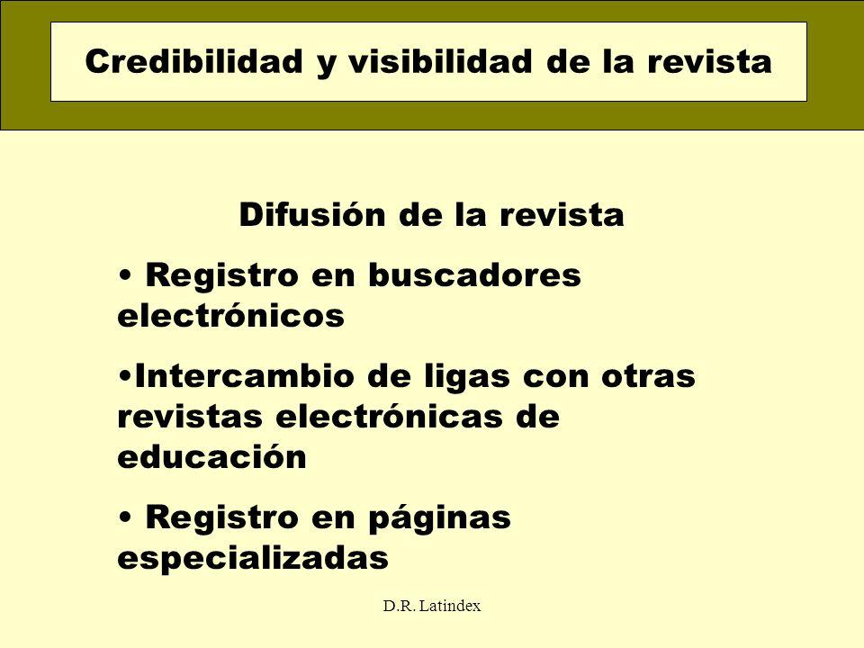 D.R. Latindex Difusión de la revista Registro en buscadores electrónicos Intercambio de ligas con otras revistas electrónicas de educación Registro en