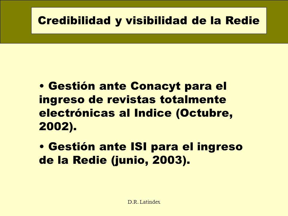 D.R. Latindex Gestión ante Conacyt para el ingreso de revistas totalmente electrónicas al Indice (Octubre, 2002). Gestión ante ISI para el ingreso de