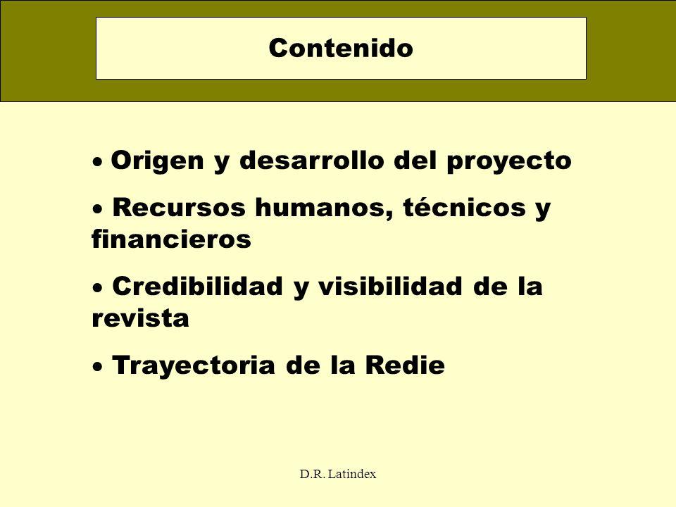 D.R. Latindex Origen y desarrollo del proyecto Recursos humanos, técnicos y financieros Credibilidad y visibilidad de la revista Trayectoria de la Red