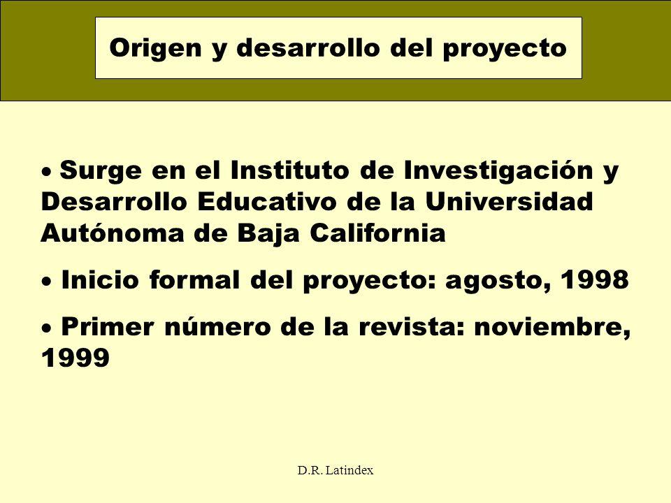 D.R. Latindex Surge en el Instituto de Investigación y Desarrollo Educativo de la Universidad Autónoma de Baja California Inicio formal del proyecto: