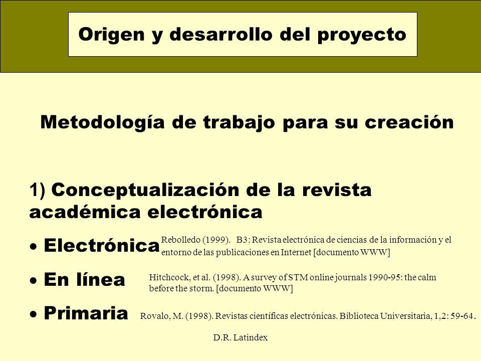 D.R. Latindex Metodología de trabajo para su creación 1) Conceptualización de la revista académica electrónica Electrónica En línea Primaria Origen y