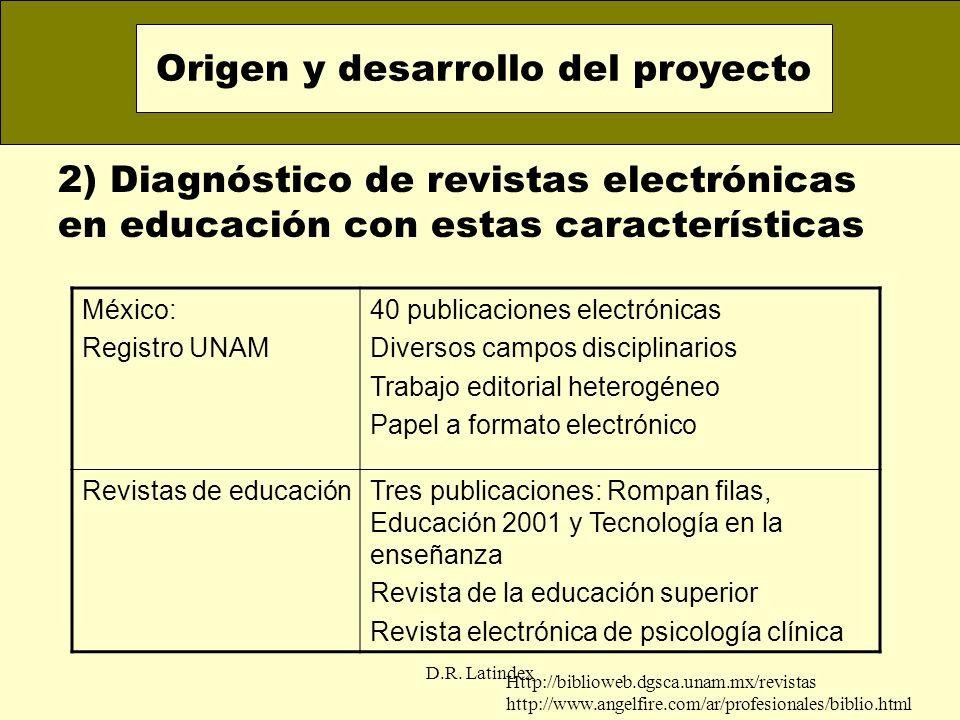 D.R. Latindex 2) Diagnóstico de revistas electrónicas en educación con estas características Origen y desarrollo del proyecto México: Registro UNAM 40