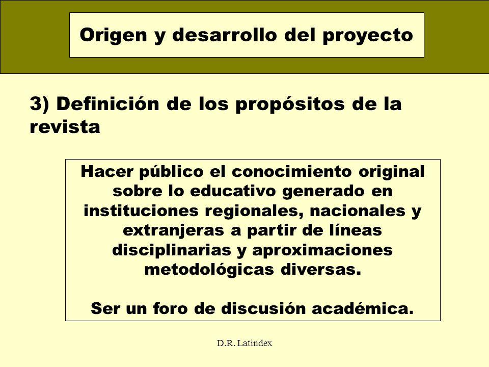 D.R. Latindex 3) Definición de los propósitos de la revista Origen y desarrollo del proyecto Hacer público el conocimiento original sobre lo educativo