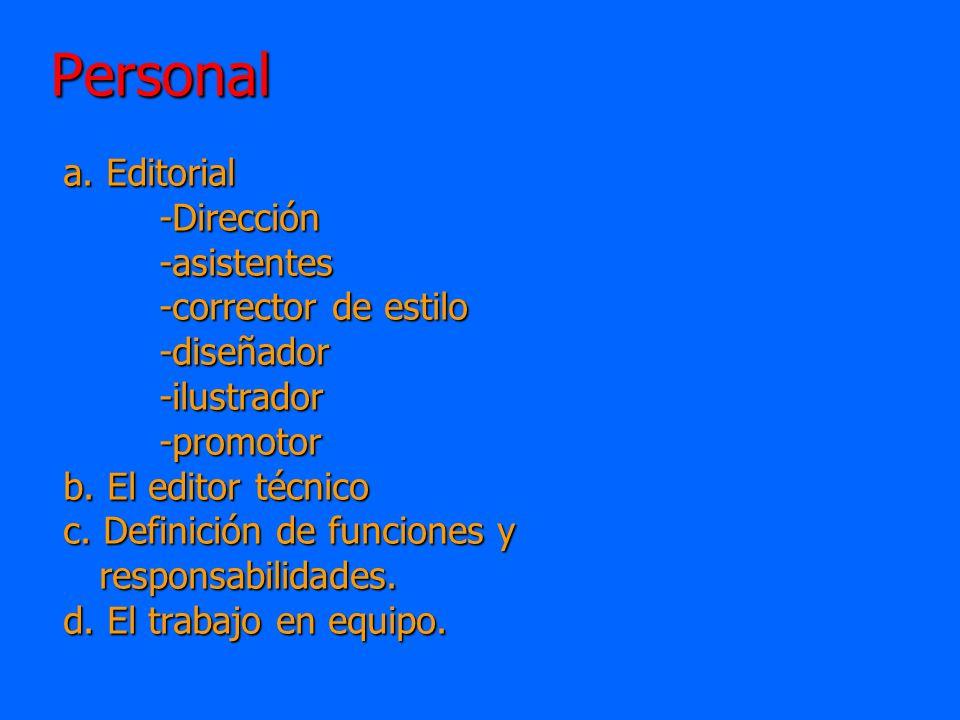 Personal a.Editorial -Dirección-asistentes -corrector de estilo -diseñador-ilustrador-promotor b.