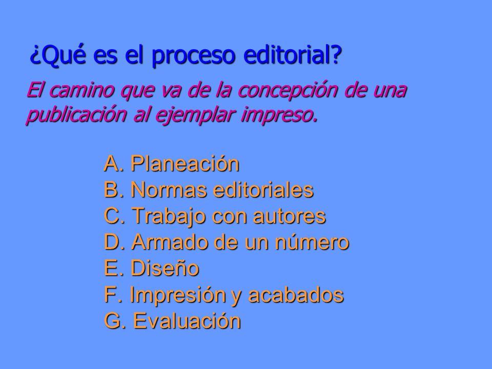 ¿Qué es el proceso editorial? A. Planeación B. Normas editoriales C. Trabajo con autores D. Armado de un número E. Diseño F. Impresión y acabados G. E