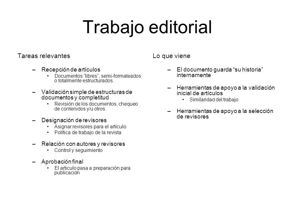 Trabajo editorial Tareas relevantes –Recepción de artículos Documentos libres, semi-formateados o totalmente estructurados.