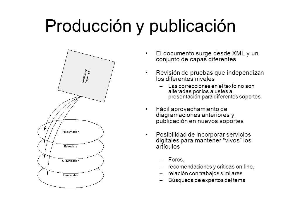 Producción y publicación El documento surge desde XML y un conjunto de capas diferentes Revisión de pruebas que independizan los diferentes niveles –Las correcciones en el texto no son alteradas por los ajustes a presentación para diferentes soportes.