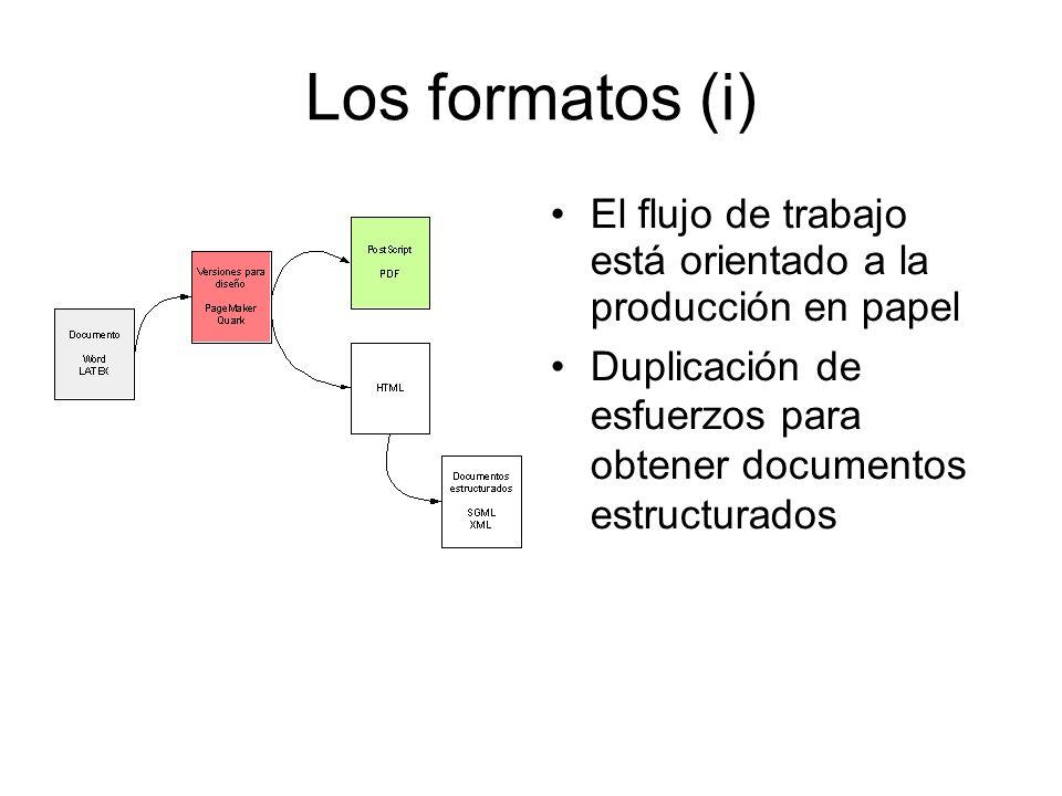 Los formatos (ii) Adopción de estándares XML por parte de las aplicaciones de producción de documentos Flujo de trabajo más expedito Facilidad en el intercambio Favorece la preservación de la historia del documento (los cambios realizados, actualizaciones o modificaciones).