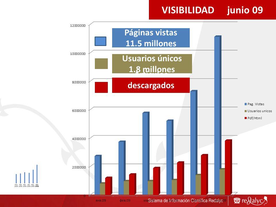 VISIBILIDAD junio 09 Páginas vistas 11.5 millones Usuarios únicos 1.8 millones Artículos descargados 3.9 millones
