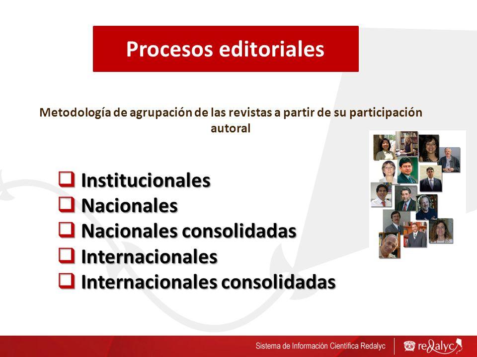 Metodología de agrupación de las revistas a partir de su participación autoral Institucionales Institucionales Nacionales Nacionales Nacionales consolidadas Nacionales consolidadas Internacionales Internacionales Internacionales consolidadas Internacionales consolidadas Procesos editoriales