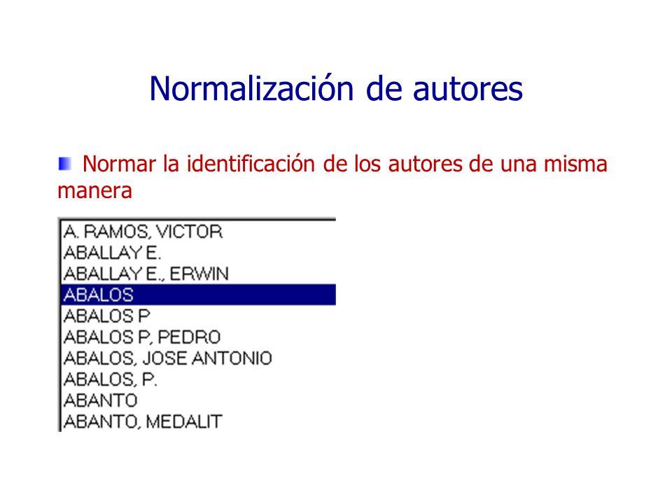 Normalización de autores Normar la identificación de los autores de una misma manera