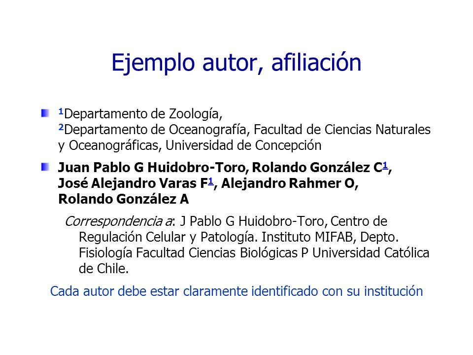 Ejemplo autor, afiliación 1 Departamento de Zoología, 2 Departamento de Oceanografía, Facultad de Ciencias Naturales y Oceanográficas, Universidad de