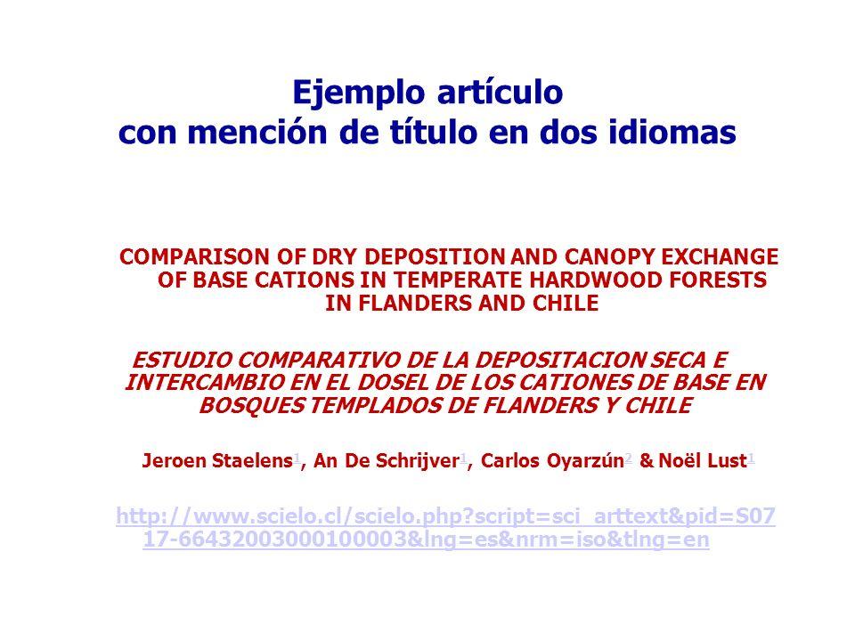 Ejemplo artículo con mención de título en dos idiomas COMPARISON OF DRY DEPOSITION AND CANOPY EXCHANGE OF BASE CATIONS IN TEMPERATE HARDWOOD FORESTS I