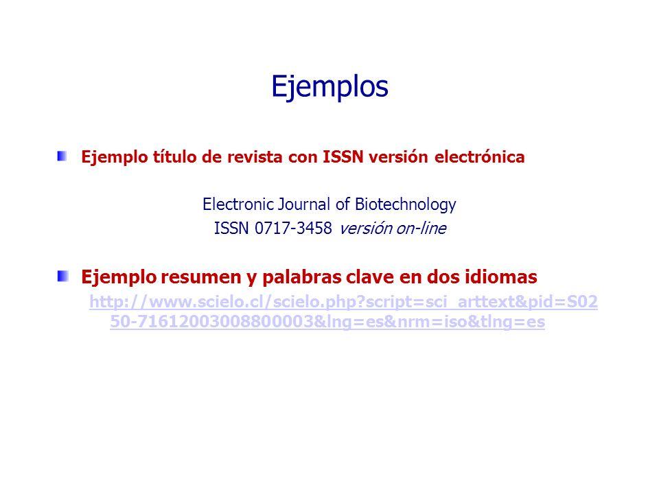 Ejemplos Ejemplo título de revista con ISSN versión electrónica Electronic Journal of Biotechnology ISSN 0717-3458 versión on-line Ejemplo resumen y p