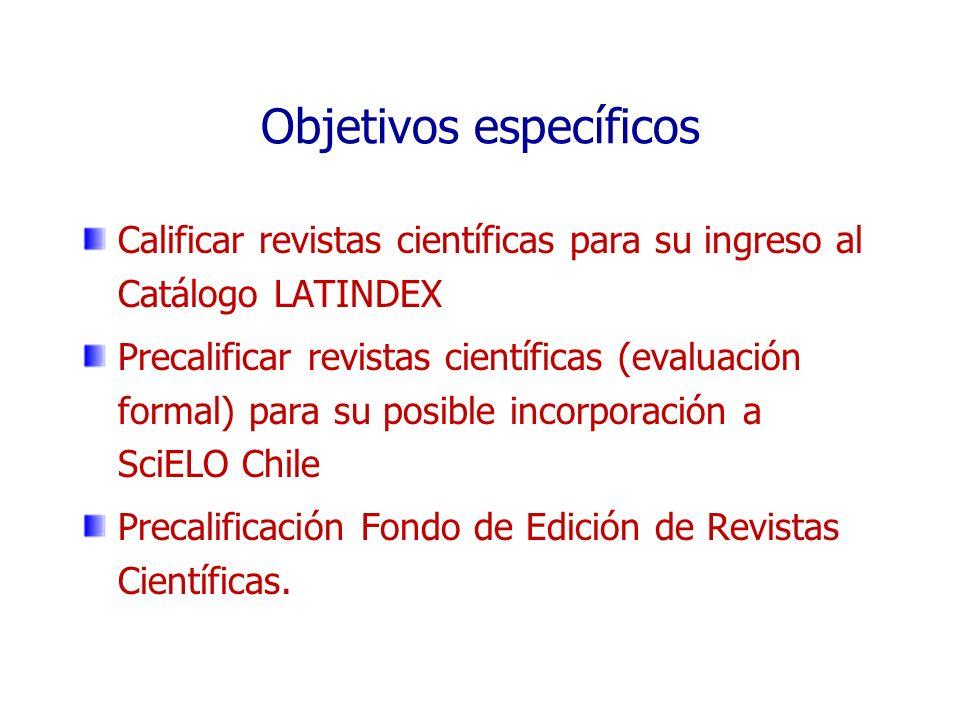 Objetivos específicos Calificar revistas científicas para su ingreso al Catálogo LATINDEX Precalificar revistas científicas (evaluación formal) para s