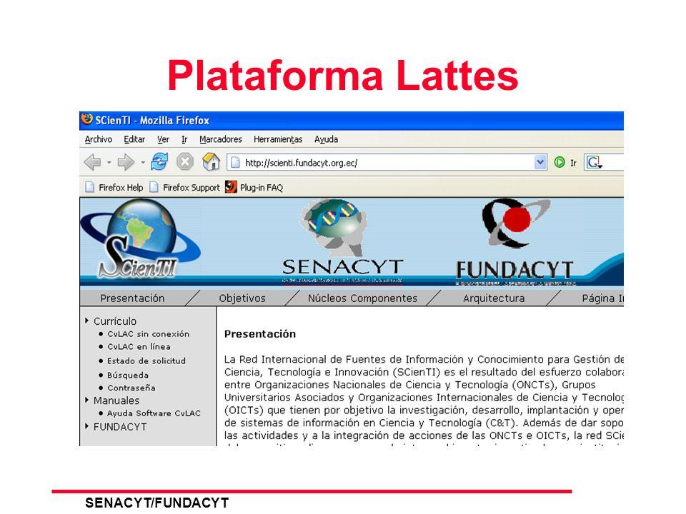 SENACYT/FUNDACYT 18 Ingreso Plataforma Lattes