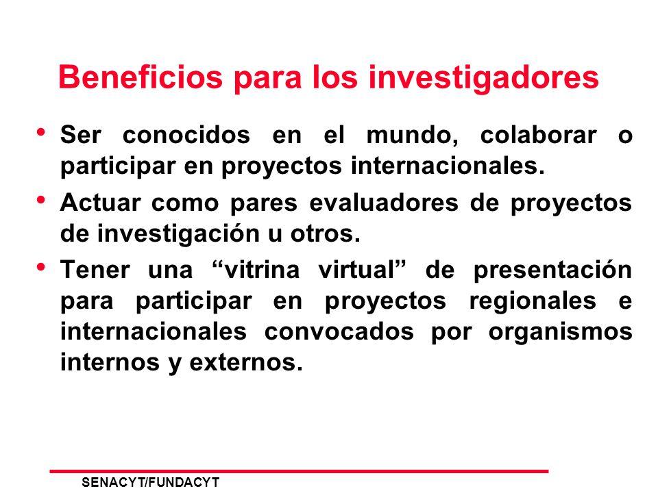 SENACYT/FUNDACYT 21 Curriculum de los Investigadores