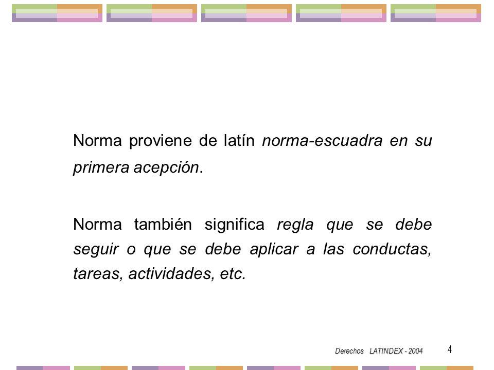 Derechos LATINDEX - 2004 15 Fecha de publicación.