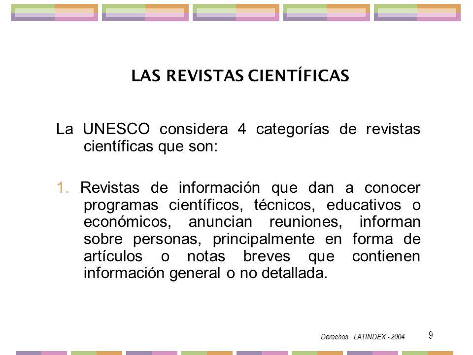 Derechos LATINDEX - 2004 20 Las revistas deben mencionar los registros oficiales del país, en el caso de México los correspondientes al Instituto Nacional de Derechos de Autor de la SEP, de Licitud de la Secretaría de Gobernación, de la dirección General de Correos, de Marca Registrada, etc.