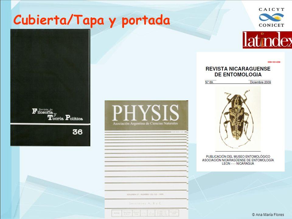 Cubierta/Tapa y portada © Ana María Flores