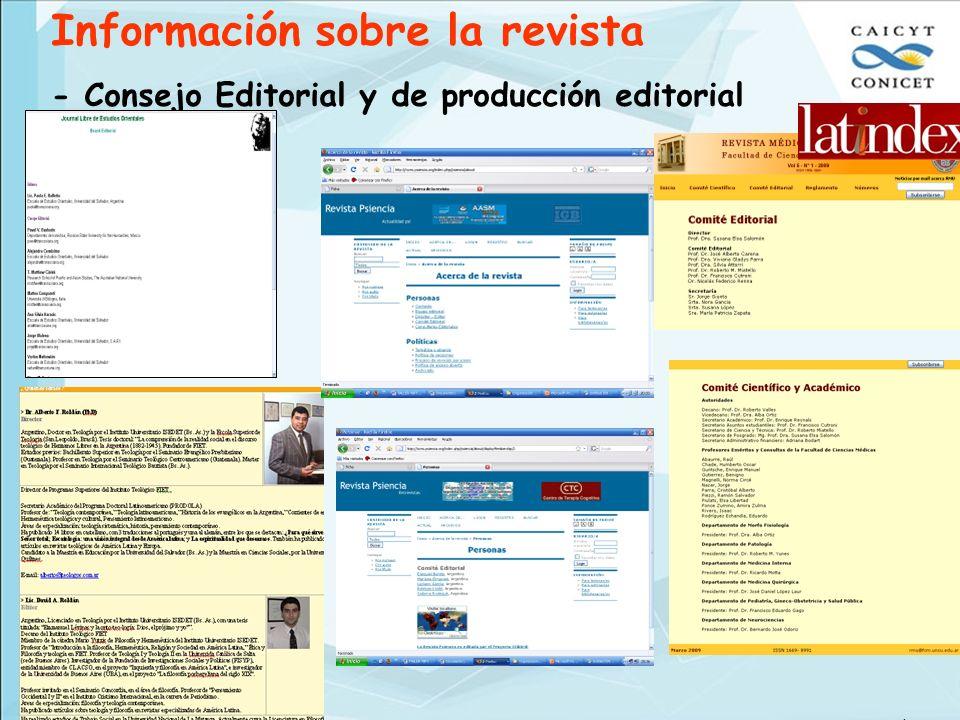 Información sobre la revista - Consejo Editorial y de producción editorial © Ana María Flores