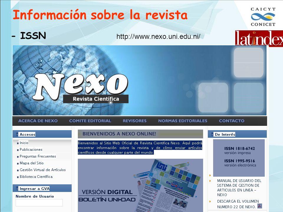 Información sobre la revista - ISSN http://www.nexo.uni.edu.ni/