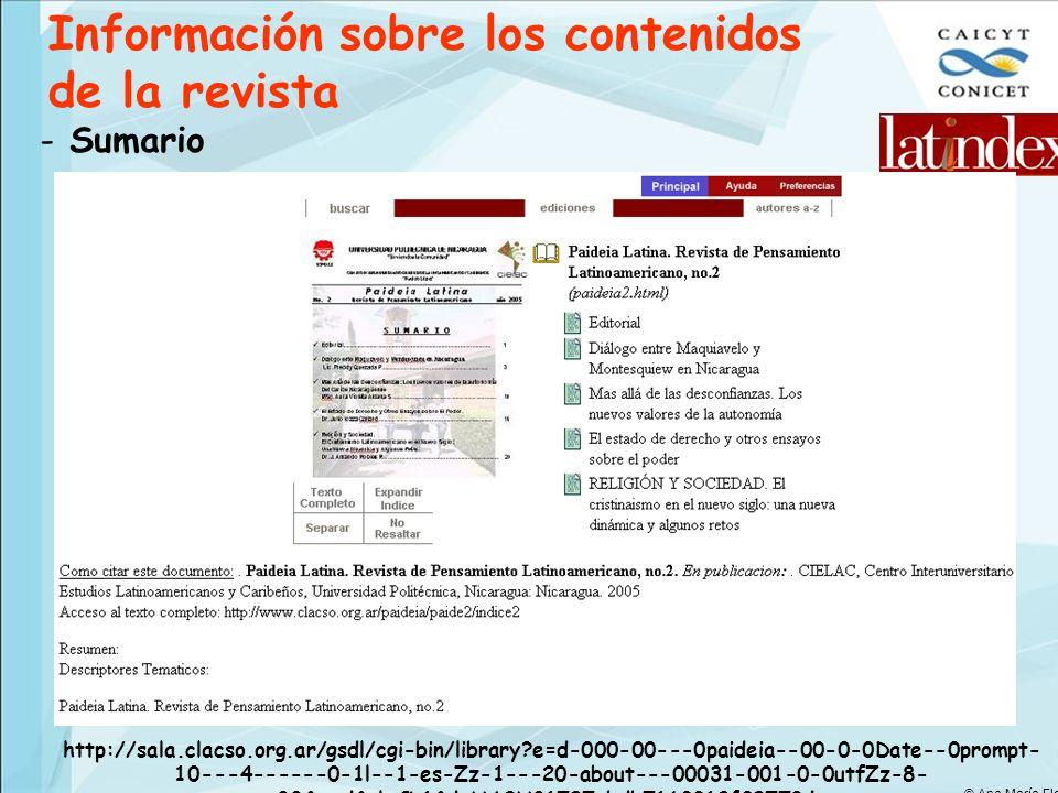 Información sobre los contenidos de la revista - Sumario http://sala.clacso.org.ar/gsdl/cgi-bin/library?e=d-000-00---0paideia--00-0-0Date--0prompt- 10