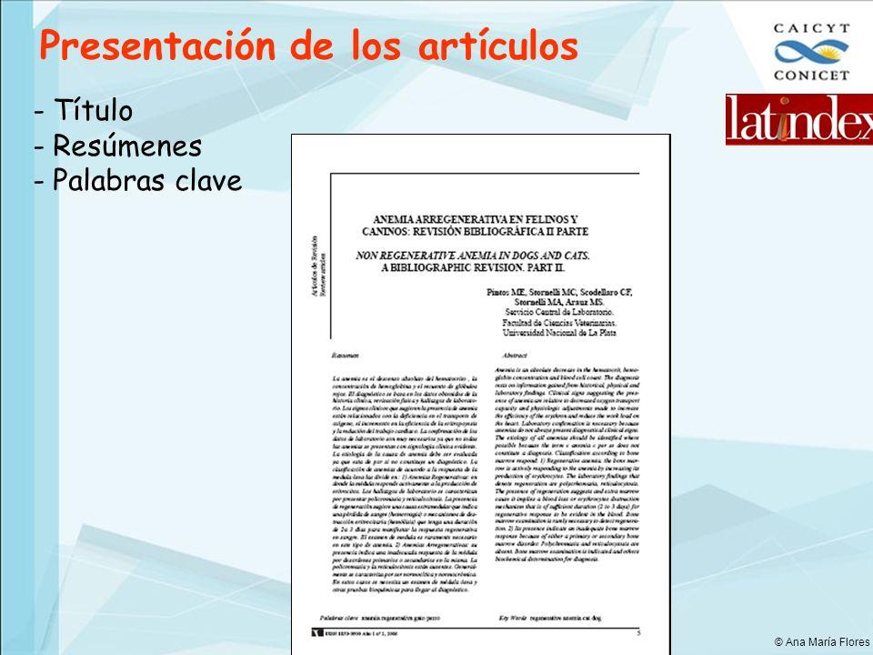 Presentación de los artículos - Título - Resúmenes - Palabras clave © Ana María Flores