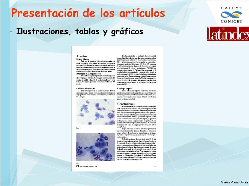 Presentación de los artículos - Ilustraciones, tablas y gráficos © Ana María Flores