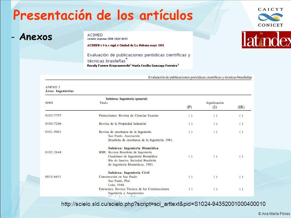 Presentación de los artículos - Anexos http://scielo.sld.cu/scielo.php?script=sci_arttext&pid=S1024-94352001000400010 © Ana María Flores