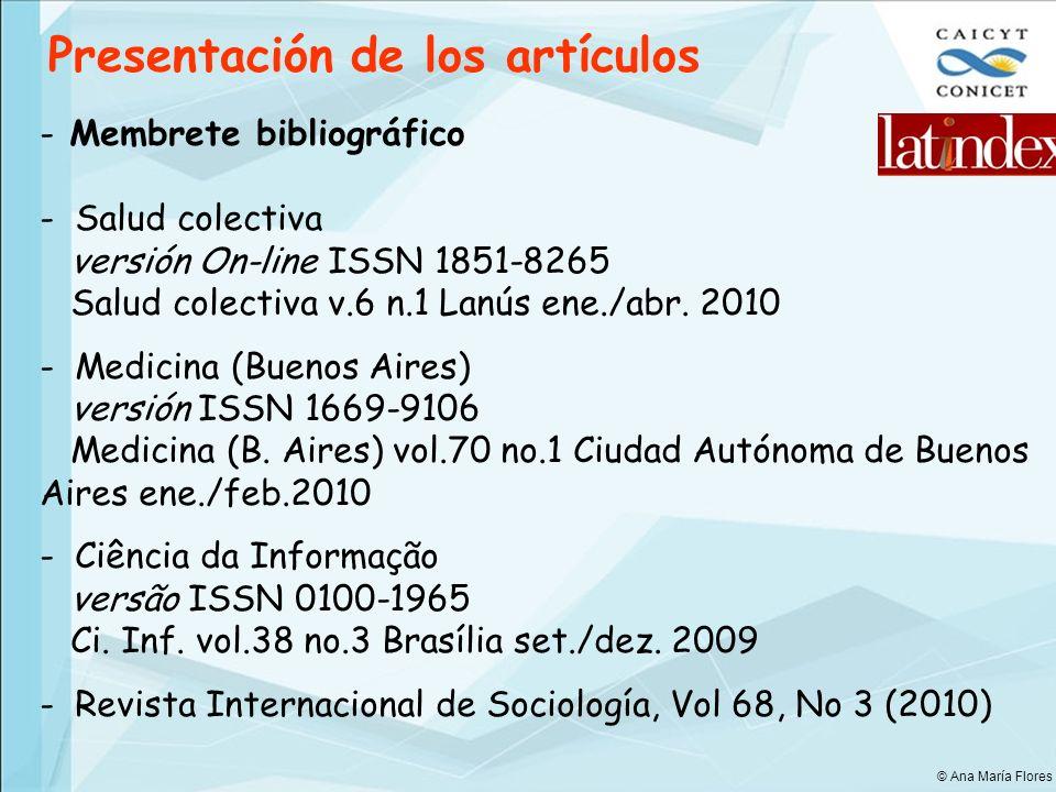 Presentación de los artículos - Membrete bibliográfico - Salud colectiva versión On-line ISSN 1851-8265 Salud colectiva v.6 n.1 Lanús ene./abr. 2010 -