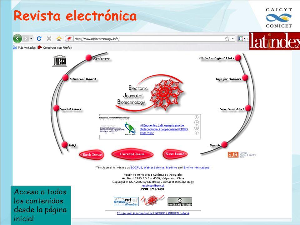 Revista electrónica Acceso a todos los contenidos desde la página inicial