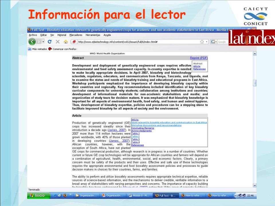 Información para el lector