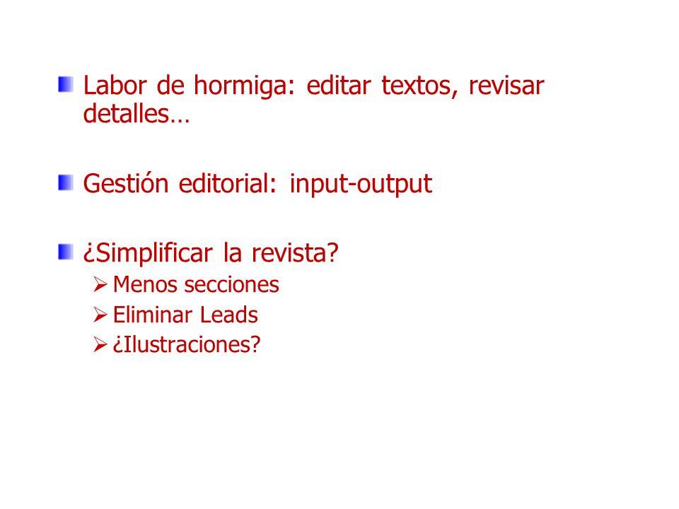 Labor de hormiga: editar textos, revisar detalles… Gestión editorial: input-output ¿Simplificar la revista? Menos secciones Eliminar Leads ¿Ilustracio