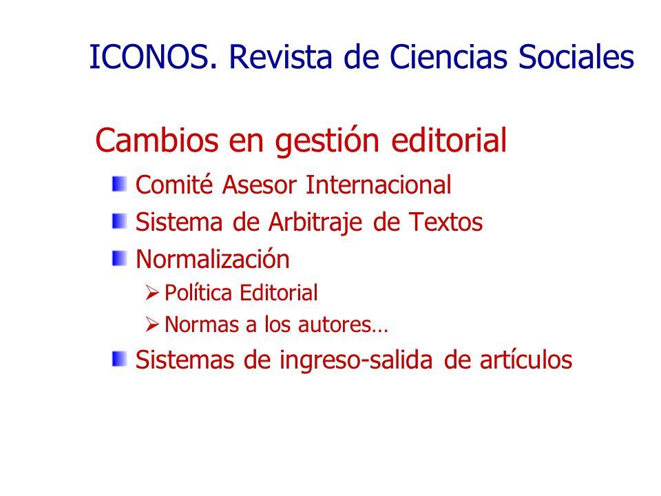 ICONOS. Revista de Ciencias Sociales Comité Asesor Internacional Sistema de Arbitraje de Textos Normalización Política Editorial Normas a los autores…