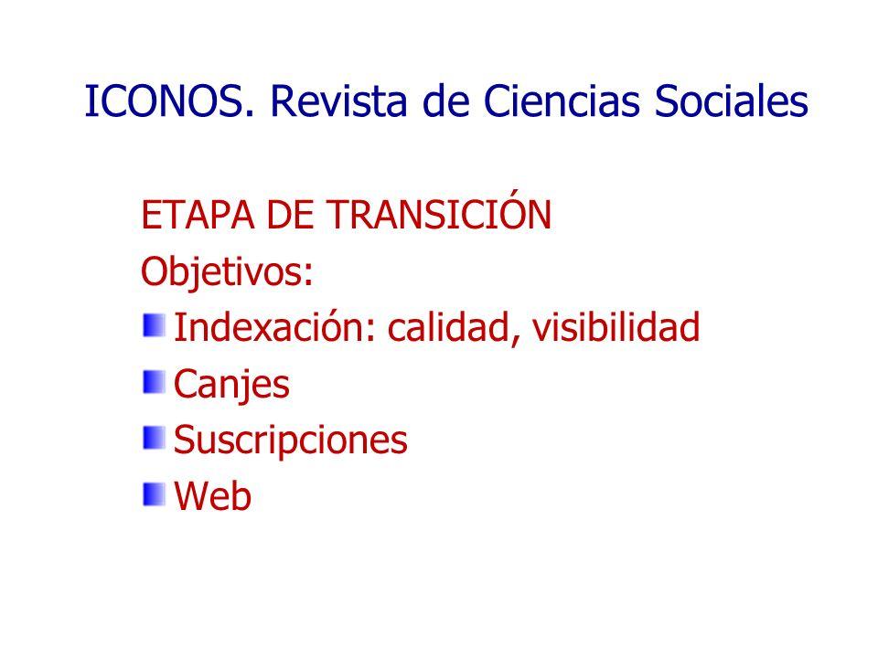 ICONOS. Revista de Ciencias Sociales ETAPA DE TRANSICIÓN Objetivos: Indexación: calidad, visibilidad Canjes Suscripciones Web