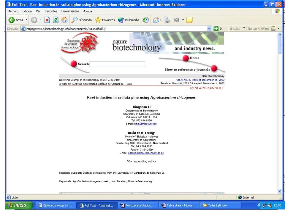 PRESENTACIÓN A EDITORES Abril 2004 Aplicaciones Multimedia y Facilidades de Comunicación para Revistas Electrónicas Taller Latindex para Editores de Revistas Científicas 5 a 7 de abril 2004 www.ejbiotechnology.info