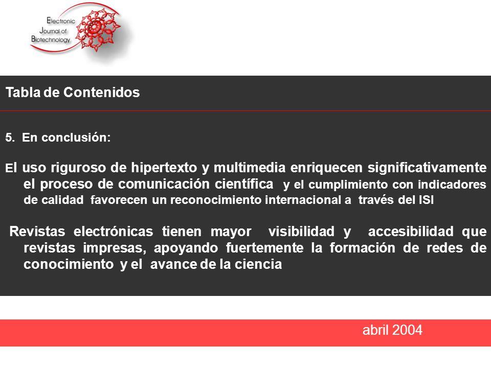 abril 2004 Tabla de Contenidos 5.