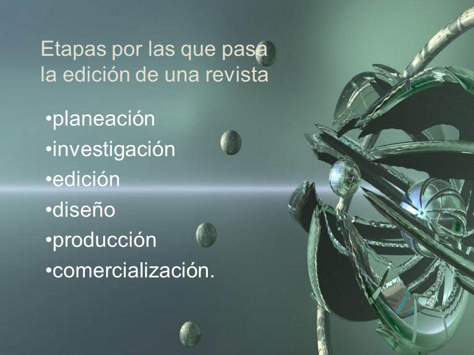 Etapas por las que pasa la edición de una revista planeación investigación edición diseño producción comercialización.