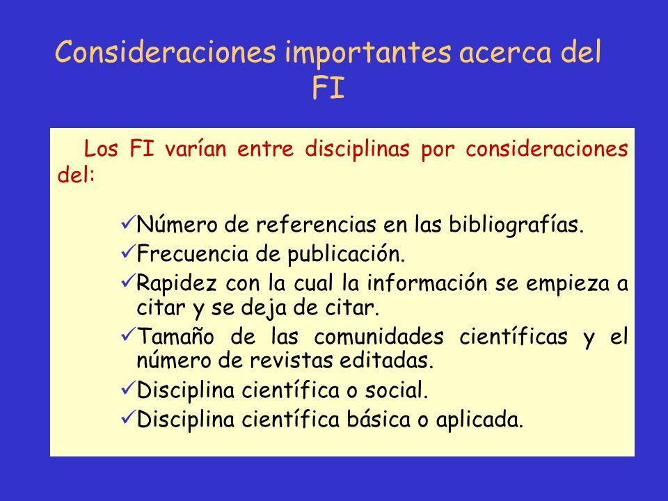 Consideraciones importantes acerca del FI Los FI varían entre disciplinas por consideraciones del: Número de referencias en las bibliografías. Frecuen