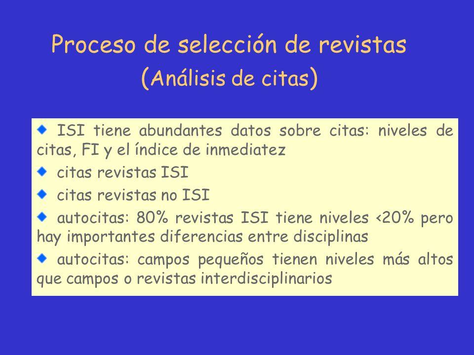 Proceso de selección de revistas ( Análisis de citas ) ISI tiene abundantes datos sobre citas: niveles de citas, FI y el índice de inmediatez citas re