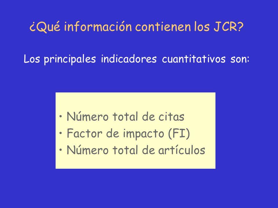¿Qué información contienen los JCR? Número total de citas Factor de impacto (FI) Número total de artículos Los principales indicadores cuantitativos s